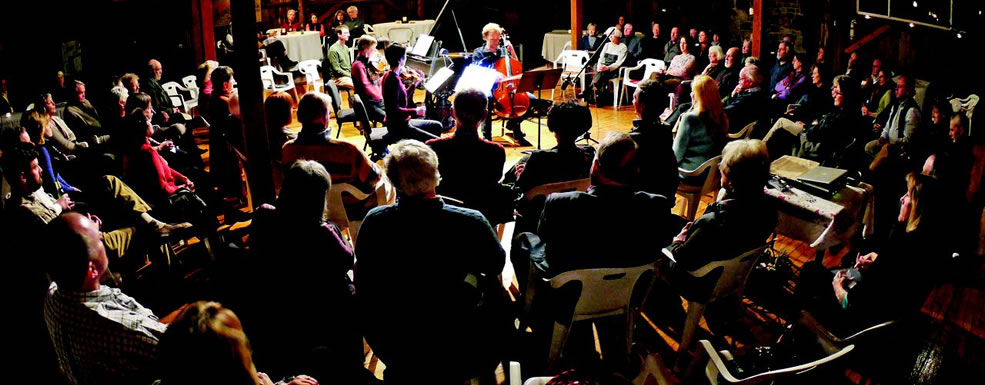 Classical music being played by live artists within a small space, surrounded by spectators enjoying the concert.