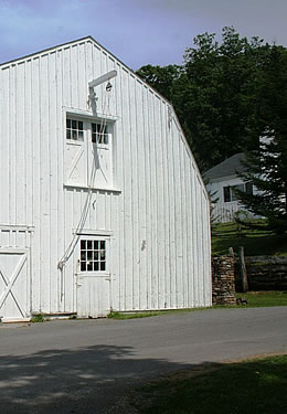 Exterior photo of a barn that belongs to the Garth Newel Music Center - where they hold concerts each weekend.